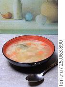 Купить «Тарелка супа и ложка столе», эксклюзивное фото № 25063890, снято 2 февраля 2017 г. (c) Яна Королёва / Фотобанк Лори