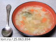 Купить «Тарелка супа и ложка», эксклюзивное фото № 25063894, снято 2 февраля 2017 г. (c) Яна Королёва / Фотобанк Лори