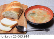 Купить «Тарелка супа и хлеб на столе», эксклюзивное фото № 25063914, снято 2 февраля 2017 г. (c) Яна Королёва / Фотобанк Лори