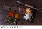 Купить «Steak grill, food background, wood background», фото № 25064194, снято 12 января 2017 г. (c) Sergey Knyazev / Фотобанк Лори
