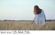 Купить «Young woman in a field», видеоролик № 25064726, снято 18 октября 2019 г. (c) Raev Denis / Фотобанк Лори
