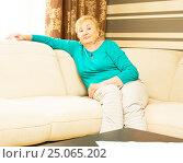 Купить «Пожилая дама на диване», фото № 25065202, снято 2 мая 2015 г. (c) ИВА Афонская / Фотобанк Лори