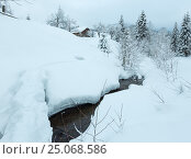 Купить «Brook in winter Carpathian Mountains.», фото № 25068586, снято 15 января 2017 г. (c) Юрий Брыкайло / Фотобанк Лори