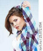Купить «Young woman hair in hipster style», фото № 25072054, снято 9 апреля 2014 г. (c) sheftsoff / Фотобанк Лори