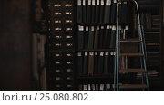 Купить «Dolly shot interior of old archive bookshelves with document folders», видеоролик № 25080802, снято 11 октября 2016 г. (c) Александр Багно / Фотобанк Лори