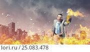 Купить «Businessman throwing petrol bomb . Mixed media», фото № 25083478, снято 21 февраля 2019 г. (c) Sergey Nivens / Фотобанк Лори