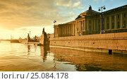 Купить «Университетская набережная Невы. Санкт-Петербург. Академия художеств», эксклюзивное фото № 25084178, снято 30 октября 2015 г. (c) Александр Алексеев / Фотобанк Лори