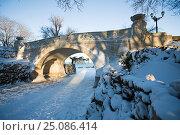 Севастополь в снегу. Мостик на Приморском бульваре в Севастополе зимой. 9 января 2009 года. Стоковое фото, фотограф Алексей Забусик / Фотобанк Лори