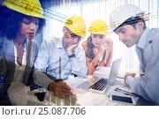 Купить «Composite image of team workink on plans against crane and building construction site», фото № 25087706, снято 26 февраля 2020 г. (c) Wavebreak Media / Фотобанк Лори