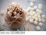 Купить «Напиток горячий шоколад и зефир маршмеллоу рядом лежит атрибутика», фото № 25088054, снято 25 января 2017 г. (c) Анна Рахимова / Фотобанк Лори
