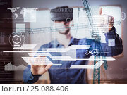 Купить «Composite image of man wearing helmet touching digital cranes», фото № 25088406, снято 26 февраля 2020 г. (c) Wavebreak Media / Фотобанк Лори