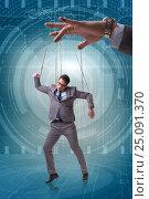 Купить «Businessman puppet being manipulated by boss», фото № 25091370, снято 20 мая 2019 г. (c) Elnur / Фотобанк Лори