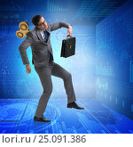 Купить «Businessman with key in hardworking concept», фото № 25091386, снято 20 мая 2019 г. (c) Elnur / Фотобанк Лори