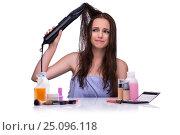 Купить «Woman doing hair isolated on white», фото № 25096118, снято 7 сентября 2016 г. (c) Elnur / Фотобанк Лори