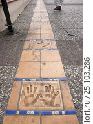 Купить «Hand prints of famous actors and movie directors on the Croisette in front of the Cinema Festival Palace, Cannes, France.», фото № 25103286, снято 16 июля 2018 г. (c) Nature Picture Library / Фотобанк Лори