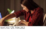 Купить «student girl or woman reading book at night home», видеоролик № 25104262, снято 16 декабря 2016 г. (c) Syda Productions / Фотобанк Лори