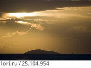 Купить «An island and sailing yacht on the horizon at sunset, British Virgin Islands (BVIs), Caribbean. March 2007.», фото № 25104954, снято 20 сентября 2018 г. (c) Nature Picture Library / Фотобанк Лори
