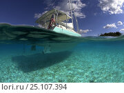 Купить «Split-level shot of the hull of the Shannon Shoalsailor illustrating how this innovative, keelless, shallow draft beachboat is designed to roam shallow waters such as these in Exuma, the Bahamas.», фото № 25107394, снято 25 июня 2019 г. (c) Nature Picture Library / Фотобанк Лори
