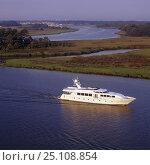 Купить «145ft luxury motoryacht built by Intermarine, cruises along the banks of the Savannah river, Georgia, USA 2003.», фото № 25108854, снято 19 января 2020 г. (c) Nature Picture Library / Фотобанк Лори