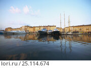 Купить «Sunset over the town and harbour of St Tropez in the South of France.», фото № 25114674, снято 19 января 2020 г. (c) Nature Picture Library / Фотобанк Лори