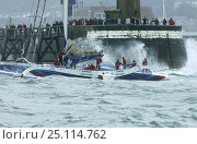 "Купить «Lalou Roucayrol's ORMA 60ft trimaran, ""Banque Populaire"", entering the rough harbour mouth at the 2004 Grand Prix de Fecamps, France. For EDITORIAL use only.», фото № 25114762, снято 16 июля 2018 г. (c) Nature Picture Library / Фотобанк Лори"
