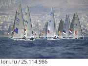 Купить «Men's Finn, Sailing during the Olympic Games, Athens, Greece, 19 August 2004.  Editorial Use Only.», фото № 25114986, снято 16 июля 2018 г. (c) Nature Picture Library / Фотобанк Лори