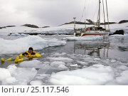 Купить «Skip Novak tests Musto's survival suit in the frozen water of the Antarctic Peninsula.», фото № 25117546, снято 26 февраля 2020 г. (c) Nature Picture Library / Фотобанк Лори