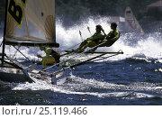 """Купить «18ft skiff """"Ella Bache"""" racing in 1997.», фото № 25119466, снято 9 апреля 2020 г. (c) Nature Picture Library / Фотобанк Лори"""