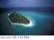 Купить «Aerial view of Heron Island, Great Barrier Reef, Australia», фото № 25119554, снято 7 сентября 2018 г. (c) Nature Picture Library / Фотобанк Лори
