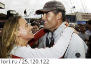 Купить «Russell Coutts celebrating with Dona Spaeth (sister of Alinghi's syndicate head, Ernesto Bertarelli) after victory in the 2003 America's Cup. Auckland, New Zealand.», фото № 25120122, снято 23 марта 2019 г. (c) Nature Picture Library / Фотобанк Лори