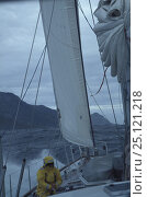 "Купить «A crew member tending to the sheet aboard ""Sariyah"", in strong onshore winds and a heavy swell the staysail alone is sufficient to keep the boat...», фото № 25121218, снято 20 июля 2019 г. (c) Nature Picture Library / Фотобанк Лори"