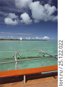 Pirogue boat in Baie d'Upi, Ile de Pins, New Caledonia, South Pacific. Стоковое фото, фотограф Roberto Rinaldi / Nature Picture Library / Фотобанк Лори