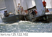 Купить «Pile-up on the start line at Cowes Week, inevitable with strong tides and the sheer quantity of competing boats. Isle of Wight, UK 1995.», фото № 25122102, снято 22 августа 2018 г. (c) Nature Picture Library / Фотобанк Лори