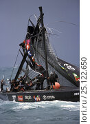 Купить «Team New Zealand dismast during race 4 in Auckland, New Zealand during the America's Cup 2003. The challenger Alinghi continued on to win the race.», фото № 25122650, снято 26 апреля 2018 г. (c) Nature Picture Library / Фотобанк Лори