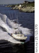 Купить «Little Harbor whisper jet powerboat with tuna fishing tower. Rhode Island, USA», фото № 25123370, снято 20 сентября 2018 г. (c) Nature Picture Library / Фотобанк Лори