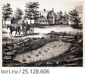 Lithograph of the Moody Footmark Quarry in South Hadley, where Pliny Moody discovered the very first fossil tracks in 1802.  From Hitchcock, Edward. Ichnology... Стоковое фото, фотограф Paul D Stewart / Nature Picture Library / Фотобанк Лори