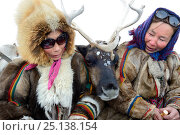 "Купить «Nenet women with pet reindeer ""akva"" (Rangifer tarandus) in Yar-Sale district, Yamal, Northwest Siberia, Russia. April 2016.», фото № 25138154, снято 19 июля 2019 г. (c) Nature Picture Library / Фотобанк Лори"