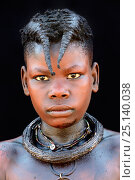 Купить «Portrait of Himba girl with the typical necklace and double plait hairstyle of the pre-adolescent. Kaokoland, Namibia. October 2015», фото № 25140038, снято 21 августа 2018 г. (c) Nature Picture Library / Фотобанк Лори