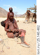 Купить «Himba woman adjusting her traditional 'Omohanga' foot ornament, a 21 strand layered anklet, indicating if she is married and has children, Marienfluss Valley. Kaokoland, Namibia October 2015», фото № 25140482, снято 2 июля 2020 г. (c) Nature Picture Library / Фотобанк Лори
