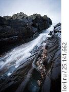 Купить «Long exposure of water rushing through inlet at, Saligo Bay, Islay, Inner Hebrides, February.», фото № 25141662, снято 14 августа 2018 г. (c) Nature Picture Library / Фотобанк Лори