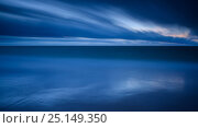 Long exposure of the blue water of the Baltic Sea, and clouds, Saaremaa Island, Estonia, December 2014. Стоковое фото, фотограф Sven Zacek / Nature Picture Library / Фотобанк Лори