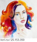 Рисунок акварелью. Яркая девушка. Стоковая иллюстрация, иллюстратор Дарья Каба / Фотобанк Лори