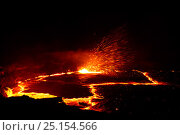 Erta Ale Volcano crater glowing at night, Danakil Depression, Ethiopia, March 2015. Стоковое фото, фотограф Eric Baccega / Nature Picture Library / Фотобанк Лори