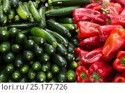Купить «Vegetables, red peppers and courgettes at market at Aix en Provence, France, October.», фото № 25177726, снято 18 июля 2018 г. (c) Nature Picture Library / Фотобанк Лори
