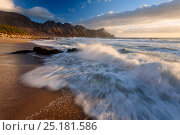 Купить «Wave washing over beach at sunset. Kogelbay beach, Western Cape, South Africa. February 2009. Non-ex.», фото № 25181586, снято 17 июня 2019 г. (c) Nature Picture Library / Фотобанк Лори