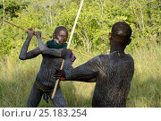 Купить «'Donga' stick fighters, young men of the Suri / Surma tribe. Omo river Valley, Ethiopia, September 2014.», фото № 25183254, снято 22 мая 2019 г. (c) Nature Picture Library / Фотобанк Лори