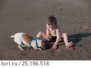 Купить «Boy on beach playing with Jack Russell terrier on Durban beach, KwaZulu-Natal, South Africa, August 2009. Model released», фото № 25196518, снято 22 августа 2018 г. (c) Nature Picture Library / Фотобанк Лори