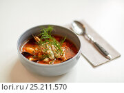 Купить «seafood soup with fish and blue mussels in bowl», фото № 25211570, снято 16 января 2017 г. (c) Syda Productions / Фотобанк Лори
