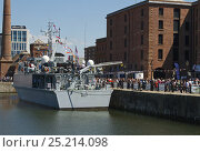 Купить «Royal Navy minehunter 'HMS Pembroke', moored in Canning dock, Liverpool, during the 70th Commemoration of the Battle of the Atlantic. Liverpool, Merseyside...», фото № 25214098, снято 15 августа 2018 г. (c) Nature Picture Library / Фотобанк Лори