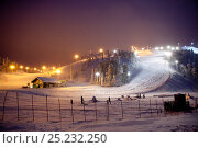 Купить «lluminated ski slopes at night, Ruka, Lapland, Finland», фото № 25232250, снято 20 мая 2019 г. (c) Nature Picture Library / Фотобанк Лори